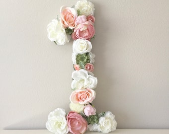 Flower Number Shabby Chic Birthday Decor First Party 1st Decorations Table Photos