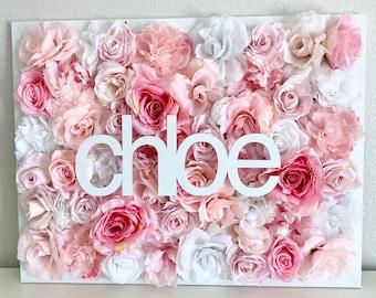 Large Custom Name Sign Nursery, Toddler Girl Room Decor Name Sign, Peony Floral Letter Flower Letter Name Art, Pink Floral Nursery Wall Sign