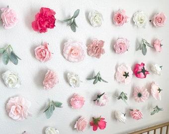 Pink Flower Wall Decor Birthday Flower Backdrop 1st Birthday Girl Backdrop Floral Birthday Decor Pink Nursery Decor Girl Flower Wall Bedroom