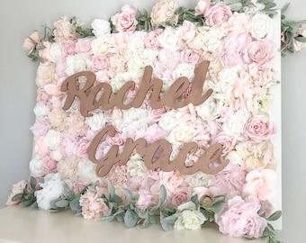 Girl Name Sign, Rose Gold Nursery Name Decor, Baby Name Sign Girl, Floral Letter, Flower Wall Decor, Girl Nursery Decor, Blush Nursery. Boho