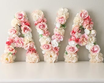 Custom Letter Flower Floral Baby Shower Decor Birthday Party Nursery Girl Gift