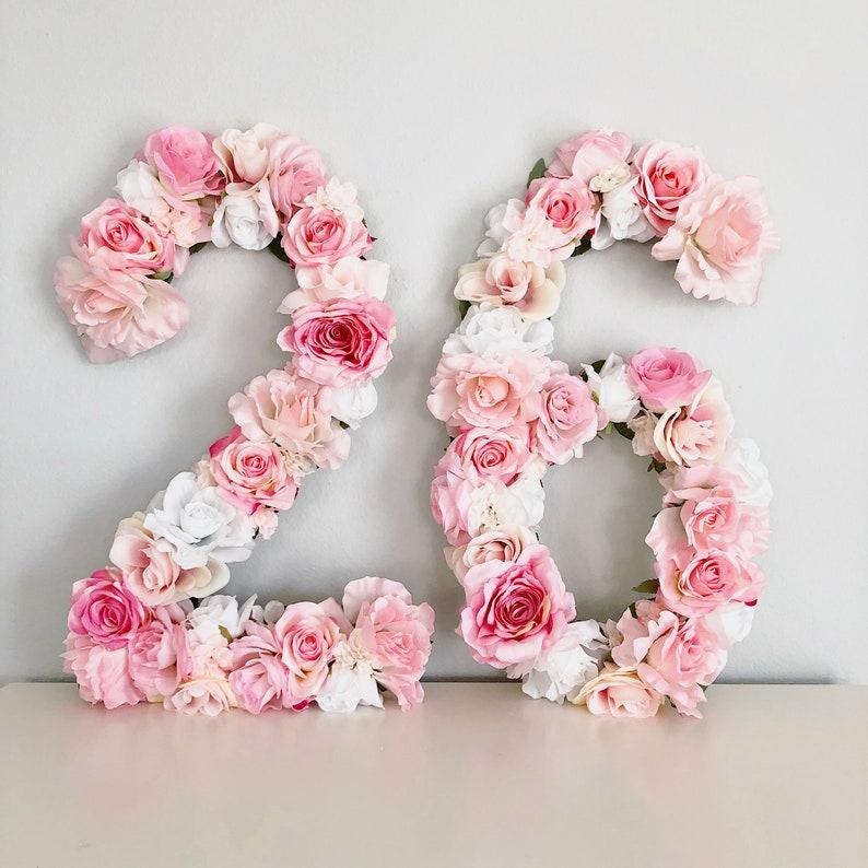 Floral Number Birthday Number Decor Birthday Banner Flower image 0