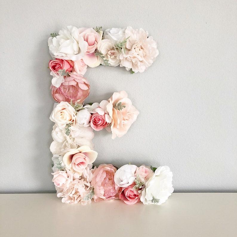 Floral Name Sign Floral Letter Nursery Flower Letter Shabby image 0