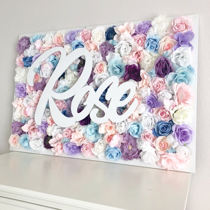 Flower Wall Nursery Name Sign Baby Shower Decor Baby Shower image 0