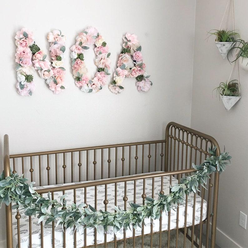 Girl Baby Shower Sign Baby Shower Name Sign Flower Letter image 0