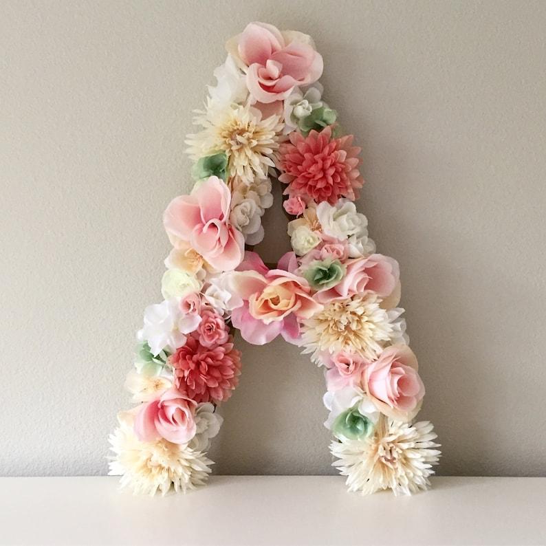 Large Floral Letter Flower Letter Nursery Letter Floral image 0