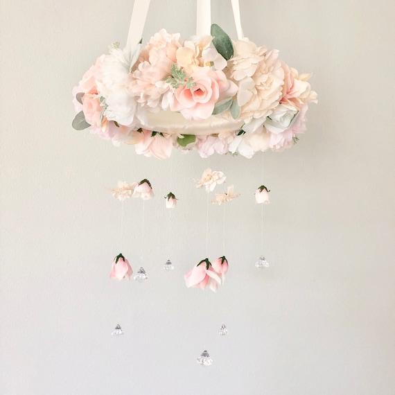 boho mobile pink mobile flower chandelier baby mobile floral nursery floral mobile Flower mobile baby girl mobile floral chandelier