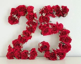 25th Birthday Decor, 25th Birthday Party, 25th Birthday Gift, Floral Number, First Birthday Decor, 1st Birthday Decorations, Birthday Photo