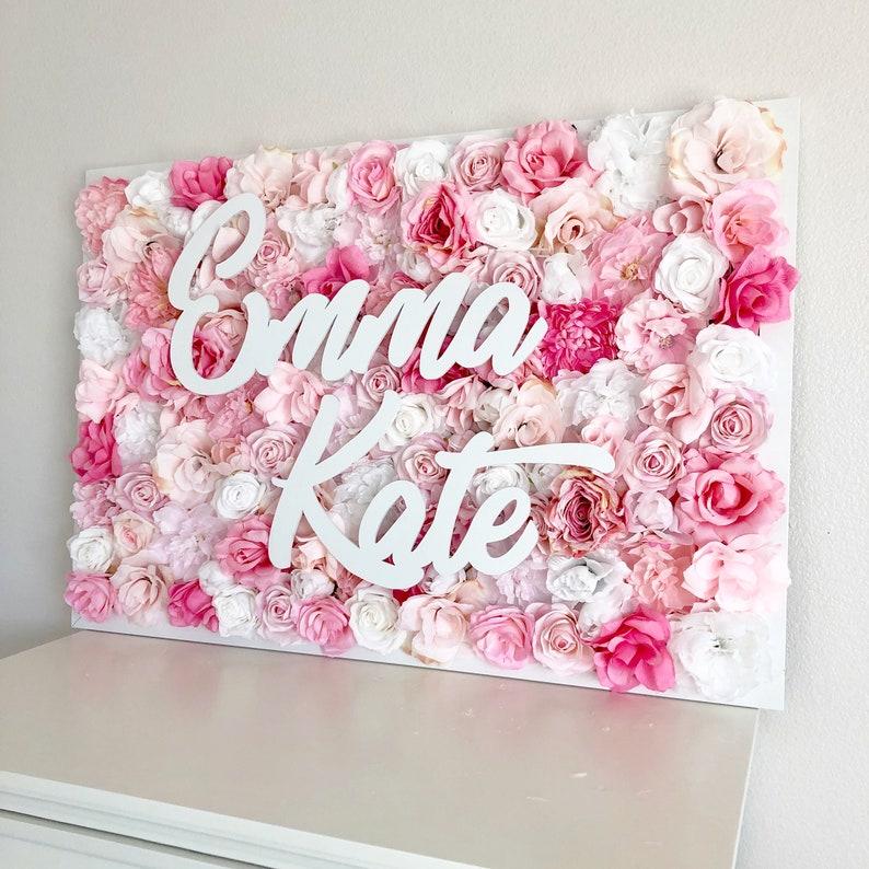 Girl Name Sign Girl Nursery Decor Girl Pink Room Decor Baby image 0