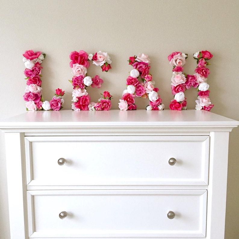 Floral Letter Flower Baby Girl Nursery Wall Art