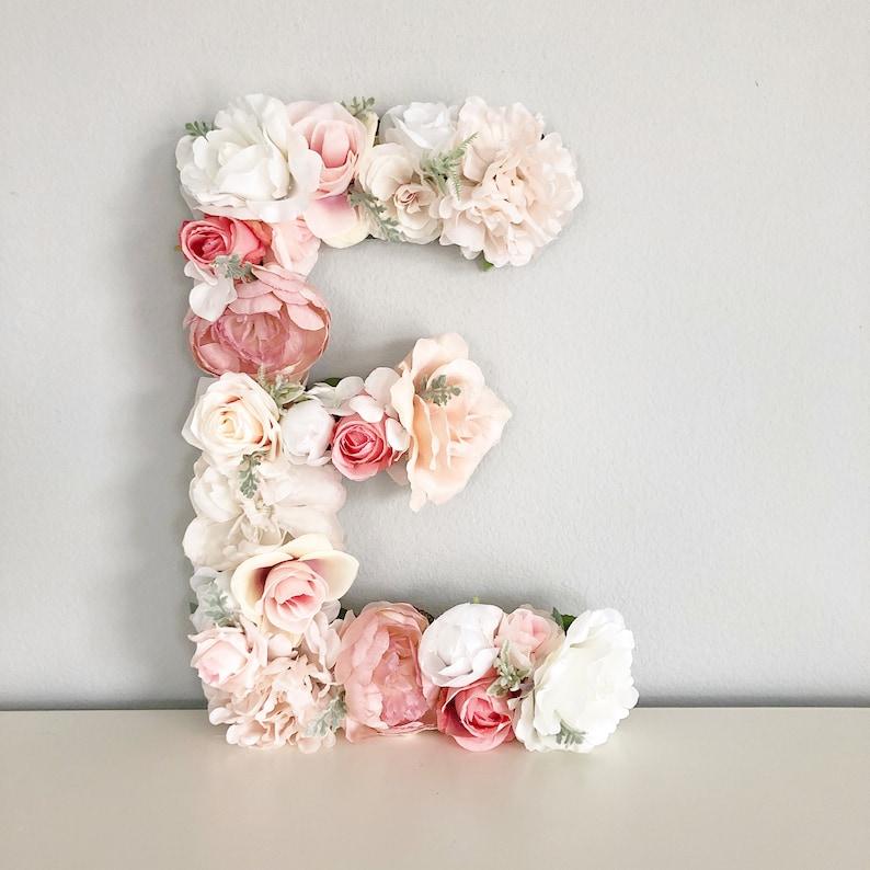 Flower Letter Floral Letter Blush Pink Nursery Decor Mauve image 0