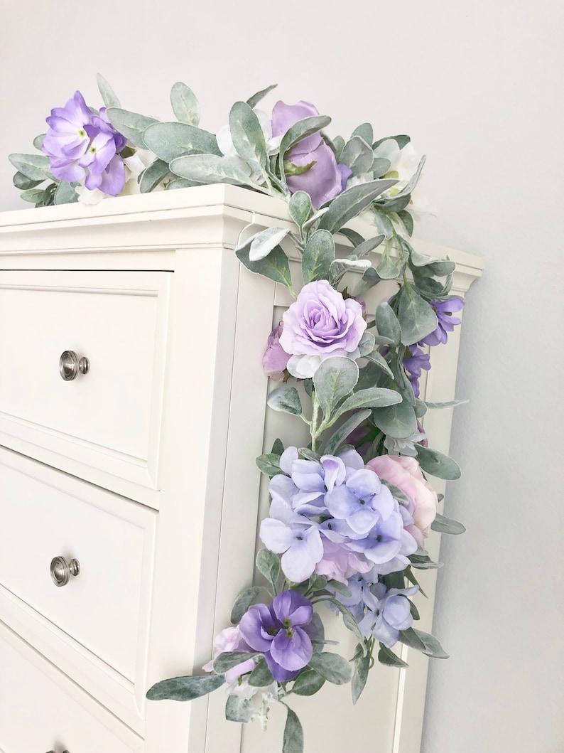 Lavender Flower Garland Lavender and Mint Decor Nursery image 0