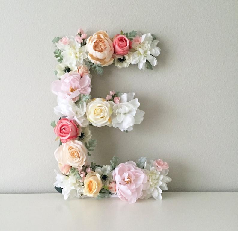 Floral Letter Floral Initial Nursery Letter Flower Letter image 0