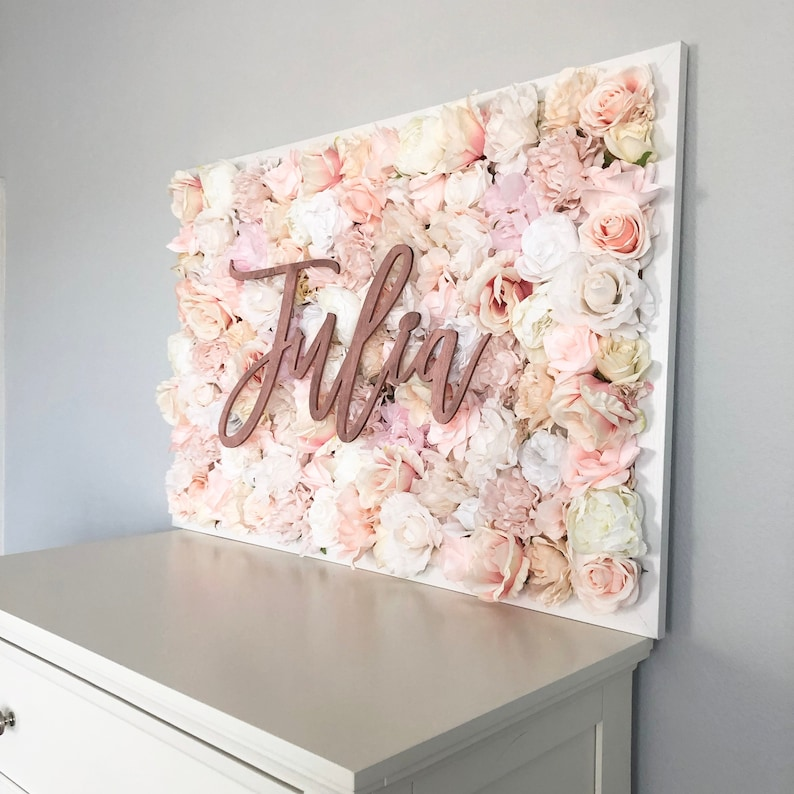 Girl Nursery Decor Nursery Wall Art Nursery Name Art Flower image 0