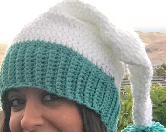 90e27406f5b8b White Santa Hat Teal Aqua Adult Fluffy Pom Pom Crocheted READY TO SHIP  Christmas Holiday Winter Office Party Adult One-Of-A-Kind Handmade