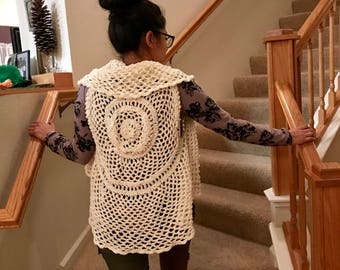 Cream Vest Woman's Small Medium Spring Summer Top Crocheted Very Detailed READY TO SHIP Graduation Gift Ruffle Front Off-White Dressy Casual