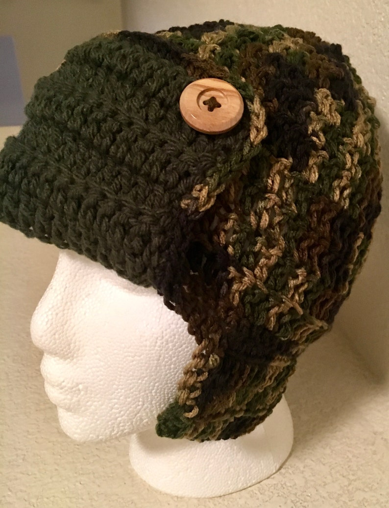 c655d5ca89323 Aviator Hat Camouflage Camo Ear Flap Green Black Brown Adult