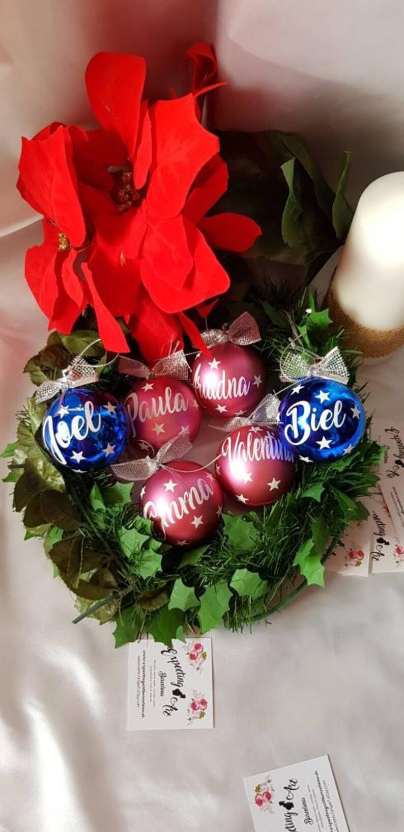 Bola de navidad con Nombre. Christmas ball red Bola Personalizada de Navidad 8 cm Adorno de Navidad Esfera Navide\u00f1a Christmas baubles