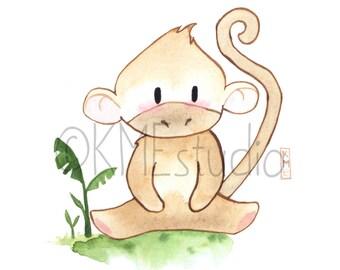 Monkey - Jungle Animal Nursery Print