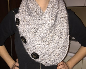 Chunky Neck Warmer Cowl Scarf with Coconut Shell Buttons
