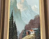 A Beautiful Original By F. Ronaldo.Textured Oil Painting Cottage The Swiss Alps
