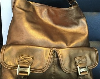 Women s MICHAEL   Michael Kors A Lovey Bronze Shoulder Strap Hand Bag  Pebble Leather Purse 6b56876cd36dc