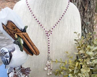 Freshwater pearls and Swarovski crystal beaded necklace