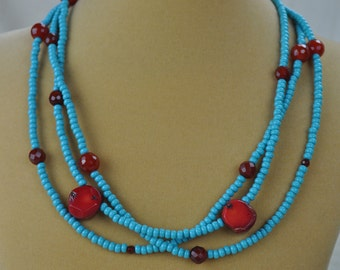 """Necklace - 20"""" Multi-strand Turquoise, Coral, and Carnelian Beaded Necklace"""