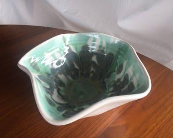 Display Bowl, Handmade Pottery, Organic Form, White/Green/Blue Interior