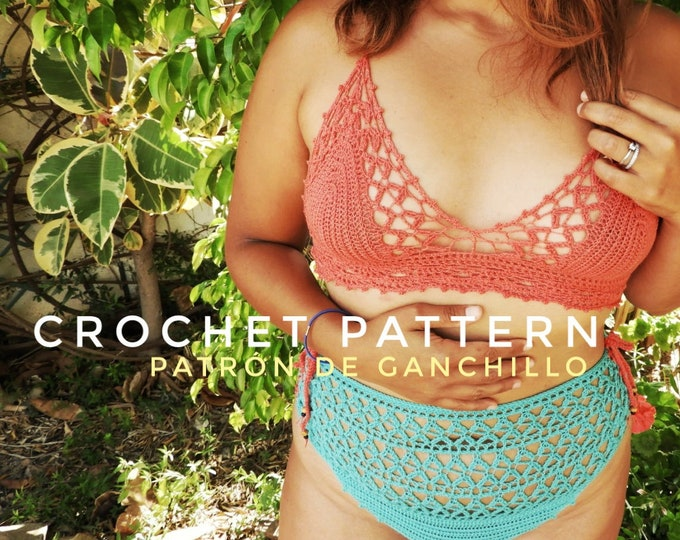 Featured listing image: Crochet Pattern Bikini Set Here Comes the Sun