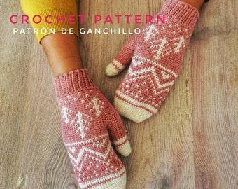 Winter Mountain Mittens Crochet Pattern