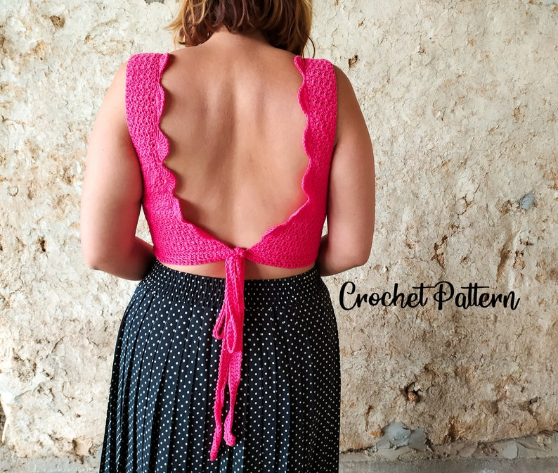 Crochet Pattern  summer crop open backback belt wrap image 0