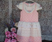 Girl 39 s Size 10 Fancy Dress,Upcycled Vintage Linens,Hand Embroidered Flowers and Antique Eyelet Lace,Cap Sleeves w Ruffle,Three Skirt Ruffles
