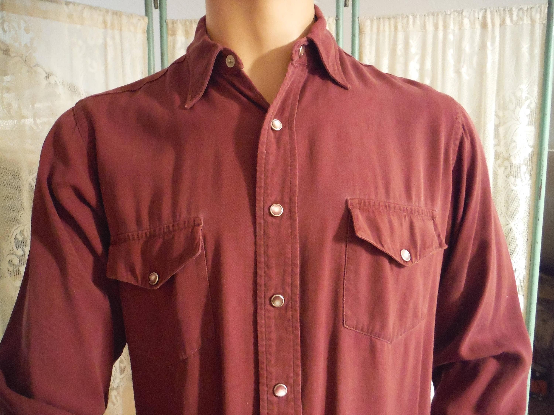 11ab55abc2d Vintage Western Men s Shirt Burgandy Western Shirt with