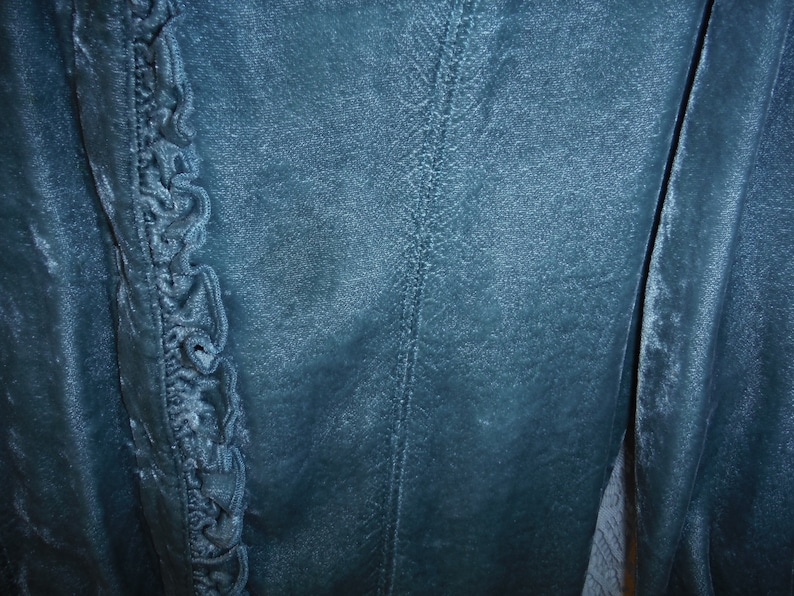 Buttoned Cuffs Woman/'s Size S-M Hidden Button Front with Ruffle Extra Long Length Rayon Velvet Long Sleeve Blouse Muted Teal Color