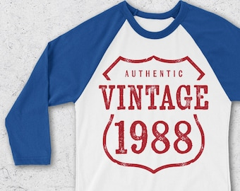 a9bbdce12b5 30th Birthday Gifts For Women   Men - Retro Baseball Tee - Authentic Vintage  1988 Shirts - 30th Birthday Shirts - Retro Raglan T-Shirt -