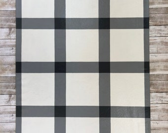 Plaid Country Check Floorcloth, Painted Canvas Rug, Floor Cloth