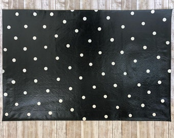 Black & White Polka Dot Floorcloth, Hand Painted Canvas Rug, Floor Mat