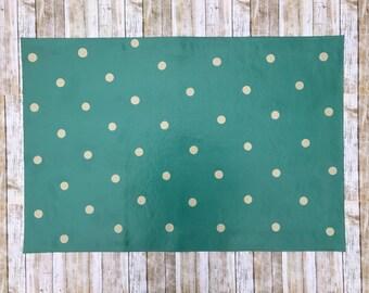 2'x 3' Teal Polka Dot Pattern Floor Cloth, Hand Painted Canvas Rug