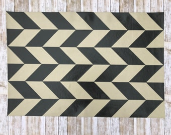 2'x 3' Chevron Checkered Pattern Floor cloth, painted canvas rug