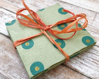 Polka Dot Coasters, Hostess Gift, Housewarming Gift, Handpainted Canvas Coaster Set