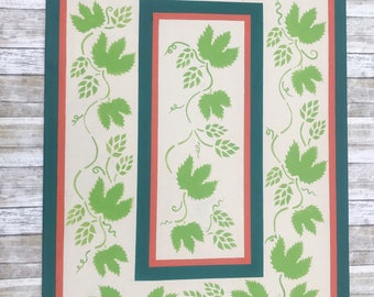 Canvas floor cloth, hand painted canvas rug, hops and vines print, area rug, kitchen mat