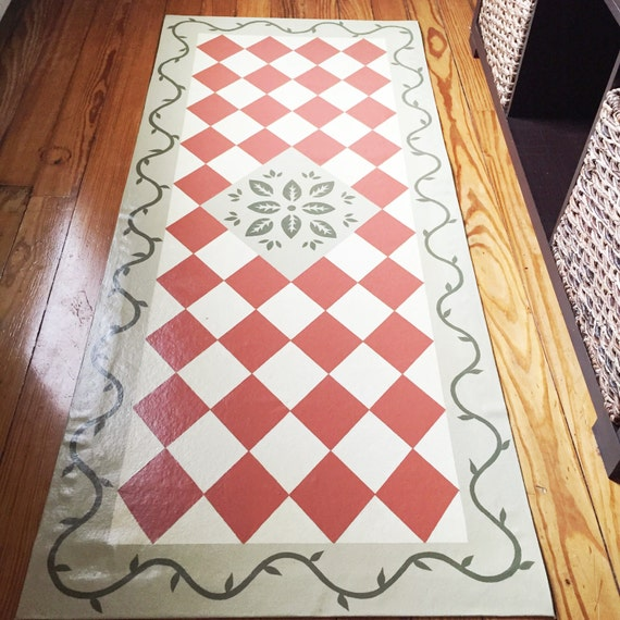 Checks Vines Runner Floor Cloth Country Decor Cottage Decor Eclectic Decor Hand Painted Canvas Rug