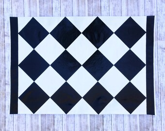 2'x 3' Black Diamond Pattern, Checkered Floor Cloth, Hand Painted Canvas Rug
