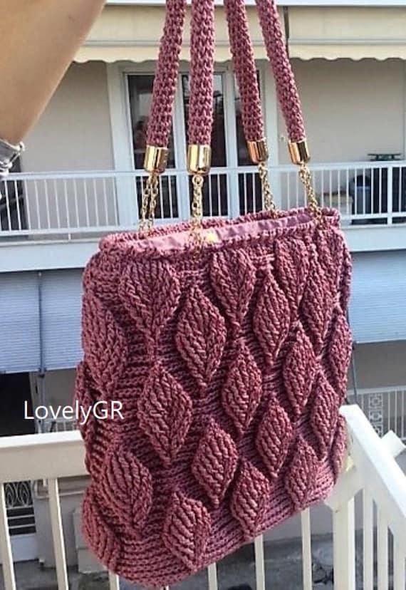 Häkeln Sie Damen Hand Tasche Schultertasche 3 D Blatt rosa | Etsy