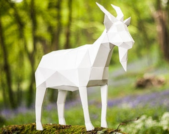 Papercraft Goat, 3d Template, DIY LowPoly Paper Farm Pet