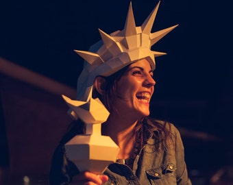 3D Paper Statue of Liberty Mask, Printable Papercraft Template for a DIY 4th of July