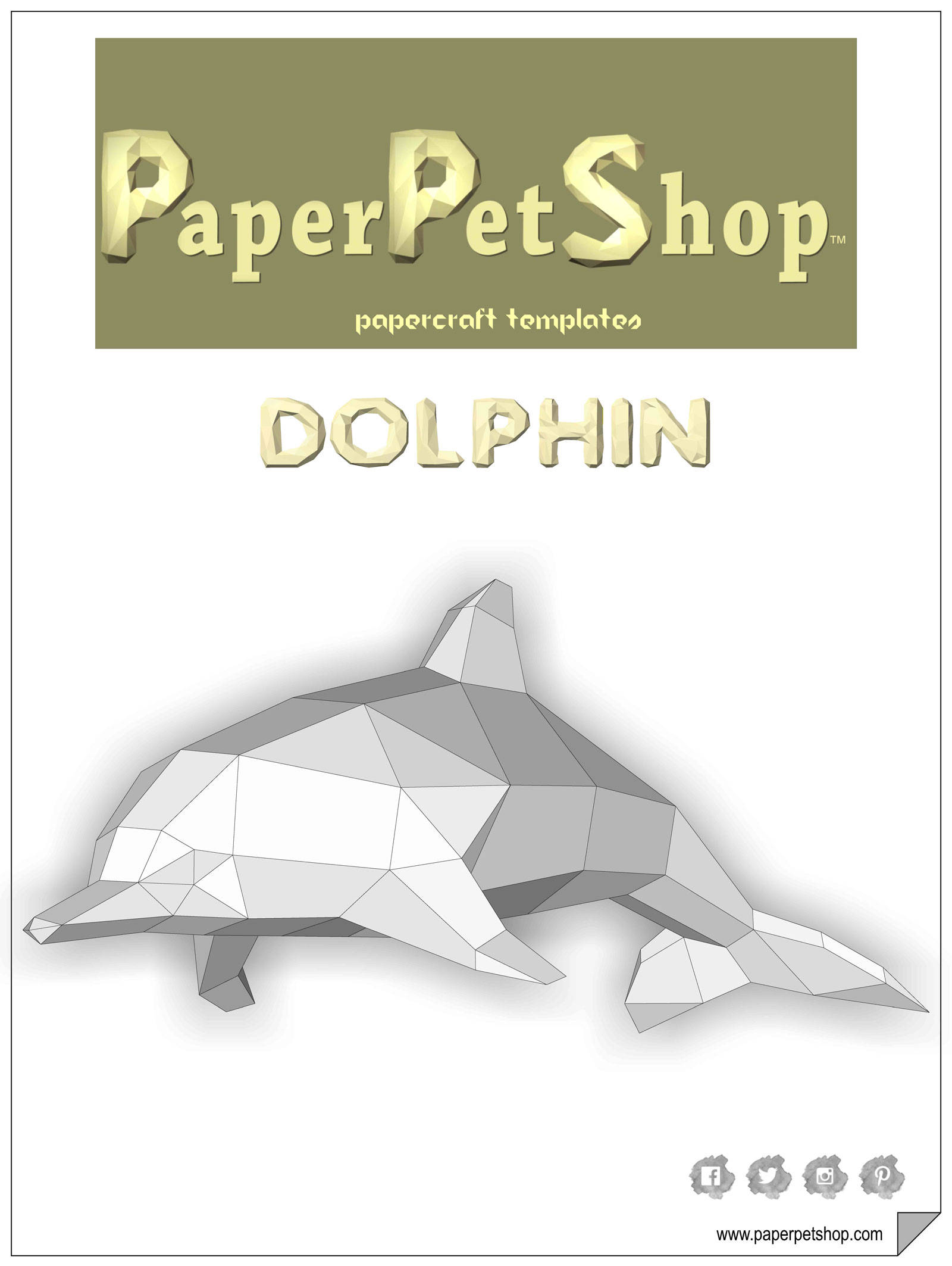 Papercraft Dolphin. Printable pdf template