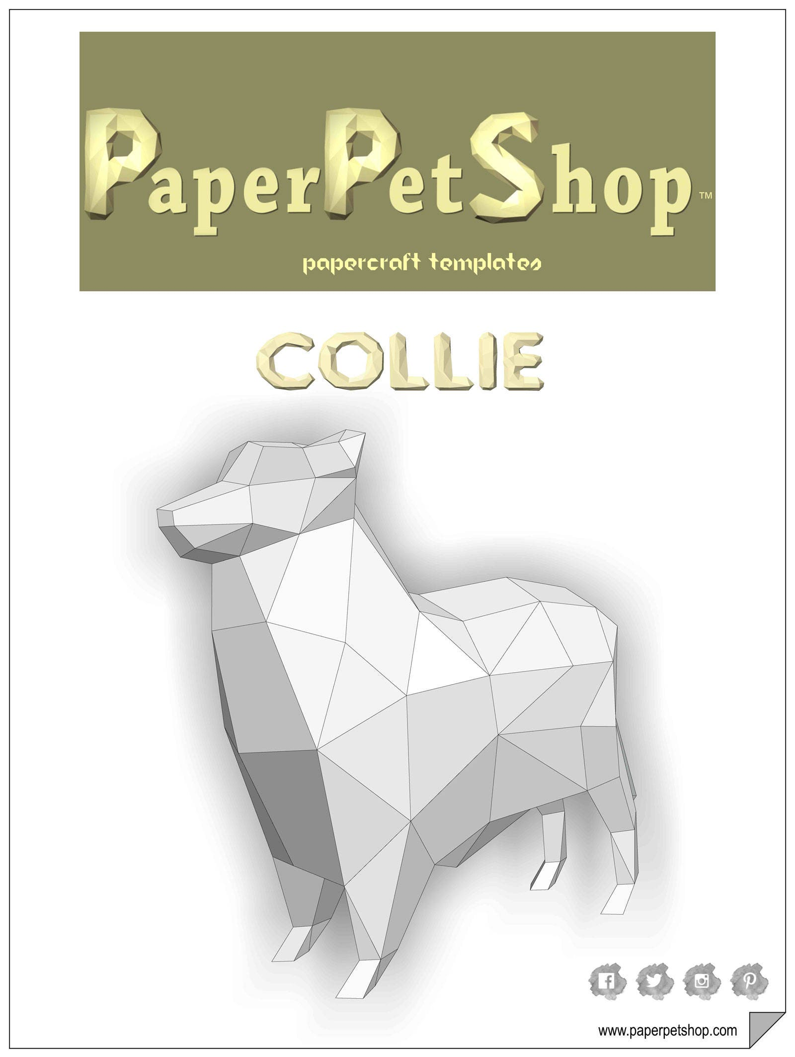 Collie Papercraft Template Instant Download 2018 Year Of The Etsy