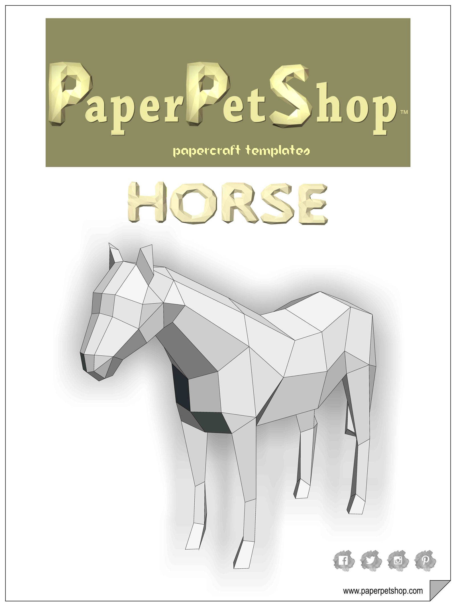 Paper Craft Horse Template Etsy